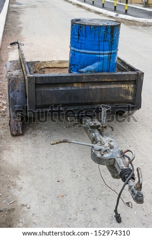 Bitumen Emulsion, package in 200 litre steel drums. These liquid products are functional in use and find a wide application in road construction and maintenance. - stock photo