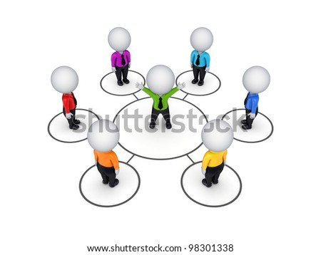 Biusiness network concept.Isolated on white background.3d rendered. - stock photo