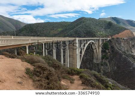 Bixby Bridge along the Pacific Coast Highway, Big Sur, California - stock photo
