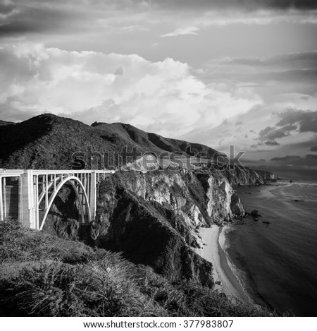 Bixby Bridge, coastal California in black & white