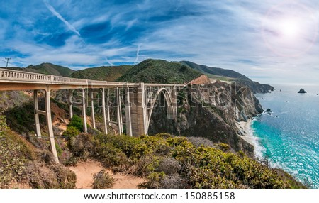 Bixby Bridge on Pacific Coast Highway, California - stock photo
