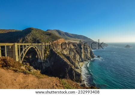 Bixby bridge, Pacific coast, California - stock photo