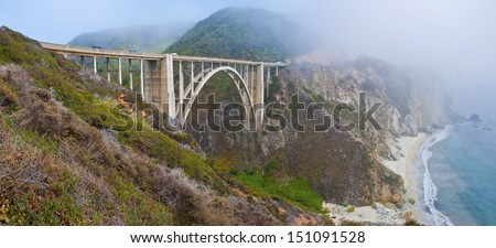 Bixby Bridge, Pacific Coast Highway in Big Sur, California - stock photo
