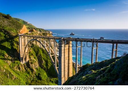 Bixby Creek Bridge, in Big Sur, California. - stock photo