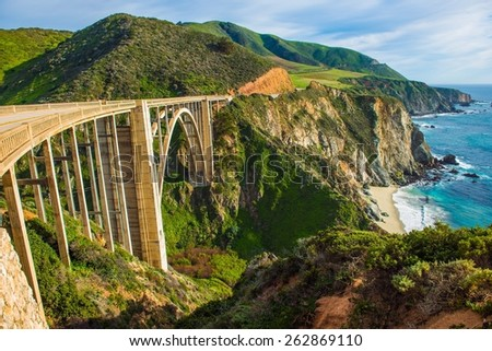 Bixby Creek Bridge in Big Sur, California, United States. Scenic California Highway 1 - stock photo