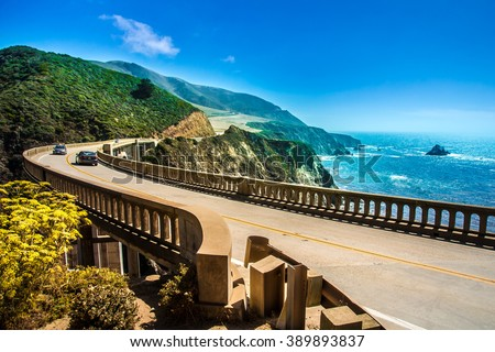 Bixby Creek Bridge on Highway #1 at the US West Coast traveling south to Los Angeles, Big Sur Area