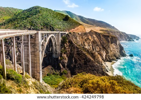 Bixby Creek Bridge on Highway #1 at the US West Coast traveling south to Los Angeles, Big Sur Area, California - stock photo