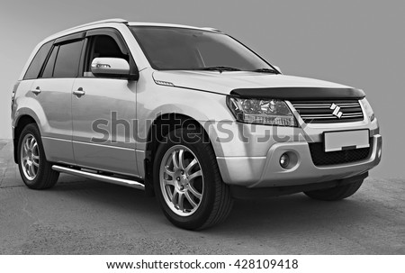 BIYSK, RUSSIA - MAY 27,2016:Suzuki Grand Vitara car. Suzuki Motor Corporation is a Japanese multinational corporation. Suzuki specializes in manufacturing four-wheel drive vehicles, motorcycles - stock photo