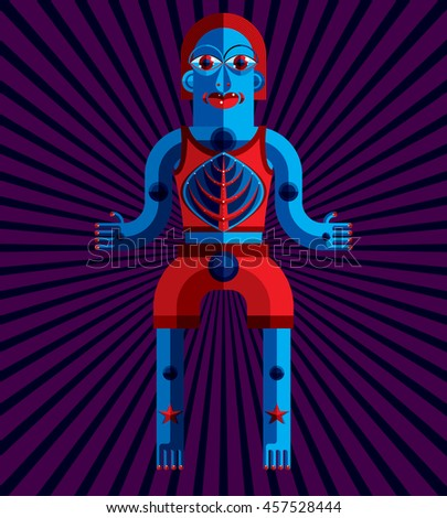 Bizarre creature illustration, cubism graphic modern picture. Flat design image of an odd character isolated on artistic background. - stock photo