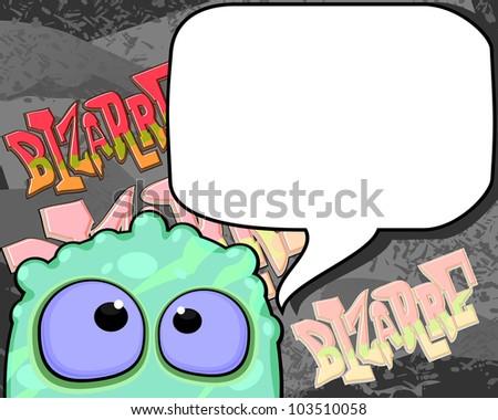Bizarre creature with speech bubble - stock photo