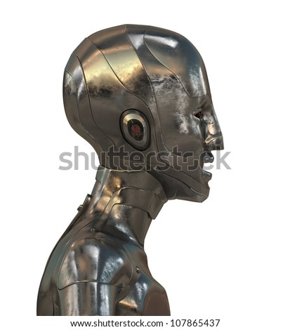 Bizarre cyborg in golden style isolated on white / Gold futuristic robotic man