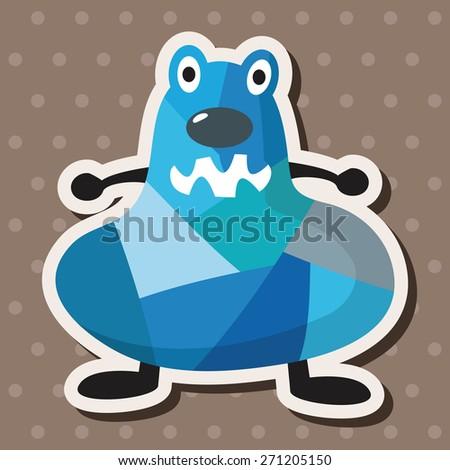 bizarre monster icon, cartoon stickers icon - stock photo