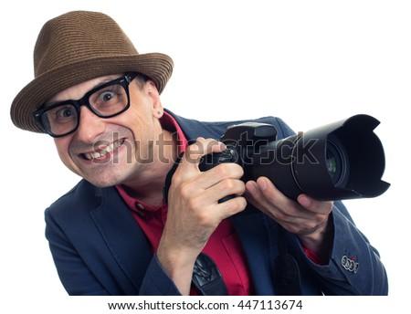 bizarre paparazzi with camera isolated on white background - stock photo