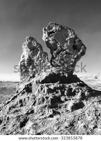 Bizarre rock formation in Moon Valley near San Perdo of Atacama, Chile. Black and white image.