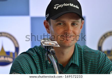 BKK-DEC10: Justin Rose in action during press conference Thailand Golf Championship at Royal Thai Navy Convention Center on December10,2013 in Thailand.