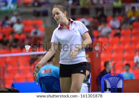 BKK,THA-OCT30:Martina Repiska of Slovakia during badminton SCG BWF World Junior Championships 2013 between Slovakia and French at Indoor national stadium Hun-Mak on October30,2013 in Bangkok,Thailand