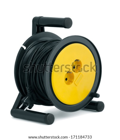 Black able extension reel isolated on white