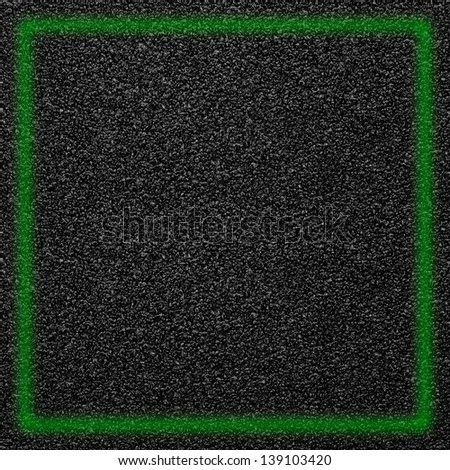 black abstract background, grainy rough pattern texture with green light frame