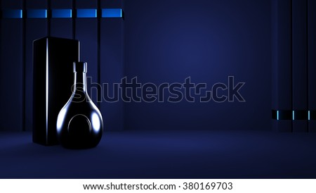 Black abstract background with elite alcohol. A bottle of liquor.