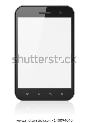 Black abstract mini tablet computer (tablet pc) on white background, 3d render. Modern portable touch pad device with white screen. - stock photo
