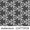 Black abstract ornate flowers seamless pattern. Vector version also exist. - stock photo