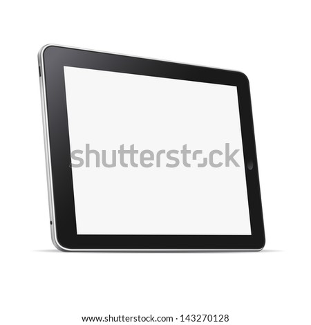 Black abstract tablet computer (pc) isolated on white. Raster version - stock photo