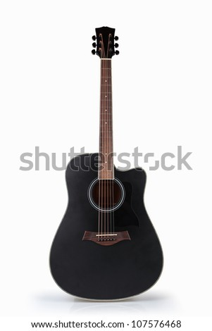 black acoustic guitar isolated on the white - stock photo