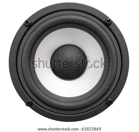 Black acoustic speaker with sphere. Isolated - stock photo