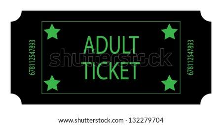 Black Adult Ticket - stock photo