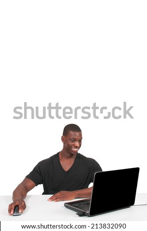 Black African American man business student computer user