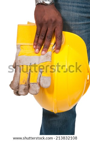 Black African American man Construction Worker on a job site - stock photo