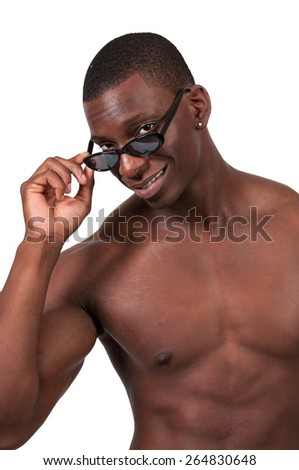 Black african american man wearing a pair of sun glasses - stock photo