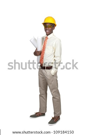 Black African American teenage man Construction Worker on a job site - stock photo