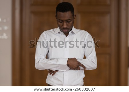 Black African Muslim Man Is Praying In The Mosque