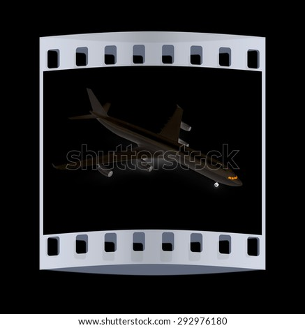 black airplane on a black background. The film strip - stock photo