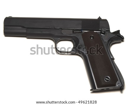 black airsoft pistol isolated on a white background