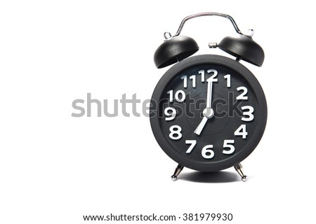 Black alarm clock at 7 o'clock isolate on white background - stock photo