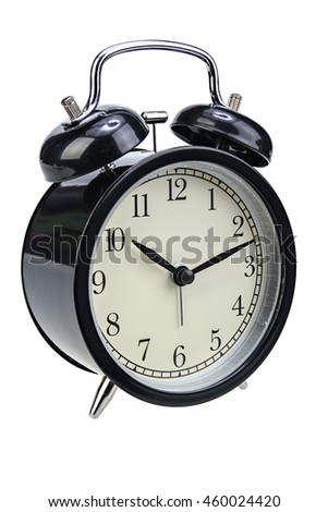 Black alarm clock half-turned isolated on white background with clipping path