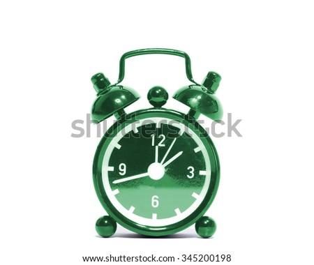 Black alarm clock isolated on white background - stock photo