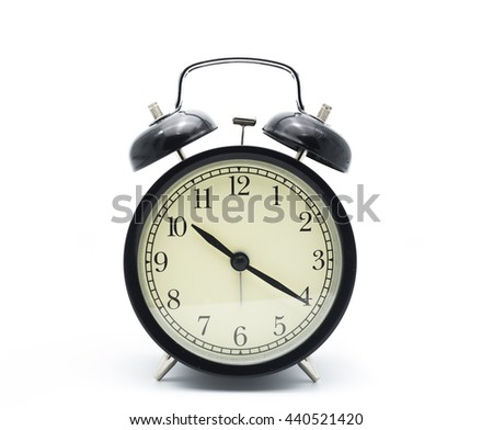 Black alarm clock isolated on white,Clock concept.