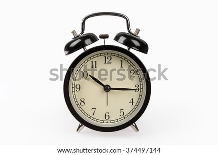 black alarm clock isolated on white with clipping path