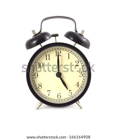 Black alarm clock shows 5 isolated on white front view close up