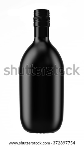 Black alcohol ceramic bottle with a screw cap isolated on white background. Tincture, balsam, whiskey, cognac, brandy, wine. 3D Mock up for you design. - stock photo