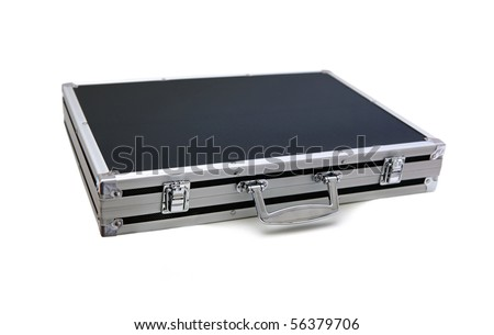 Black aluminium case isolated on white background.