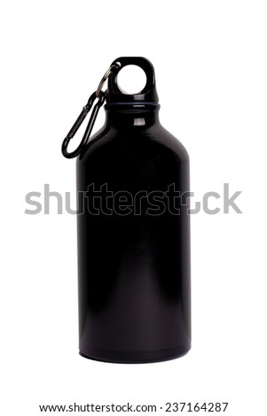 Black aluminum water flask isolated on white