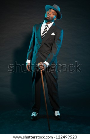 Black american mafia gangster man in suit. - stock photo