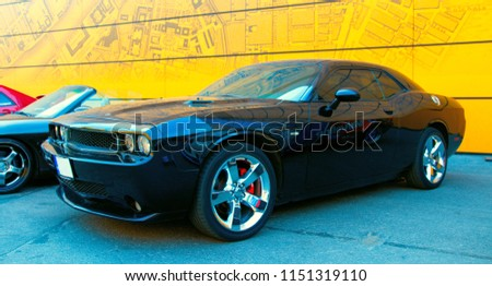Black American Muscle Car Dodge Challenger Stock Photo Royalty Free - American muscle car show 2018