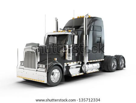 Black american truck isolated on white background - stock photo