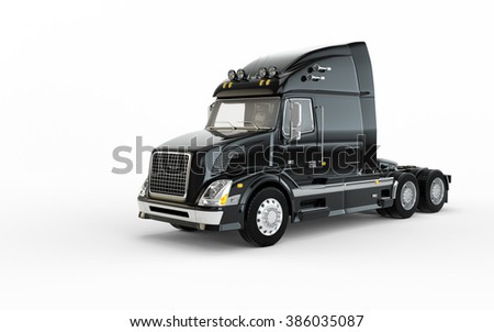 Black american truck isolated on white background