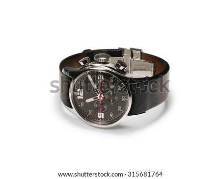 Black analogue wrist watch isolated on white - stock photo